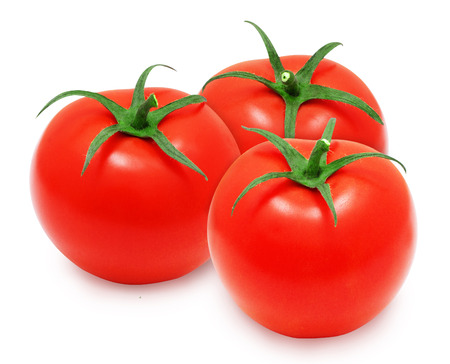 lycopene: Fresh red tomatoes isolated on white backround