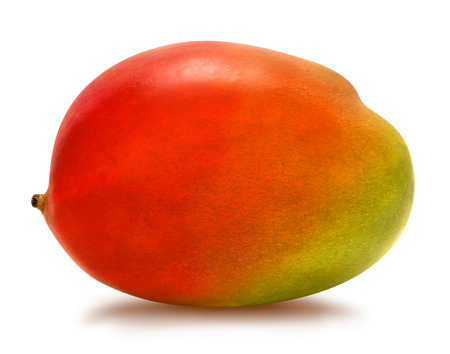 Juicy fresh mango isolated on a white background. Ripe tropical fruit with antioxidant effect.