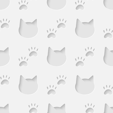 Vector 3d seamless cat head and paw silhouette pattern background. Minimalistic monochrome background for decoration wallpaper and print Vector