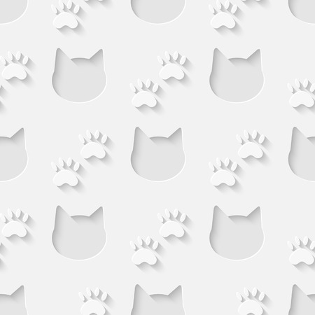 Vector 3d seamless cat head and paw silhouette pattern background. Minimalistic monochrome background for decoration wallpaper and print. Illustration