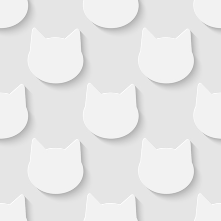 Vector 3d seamless cat head silhouette pattern background. Minimalistic monochrome background for decoration wallpaper and print.  Illustration