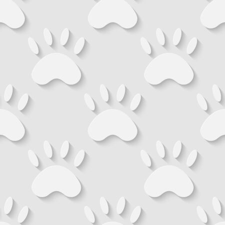 Vector 3d seamless cat paw silhouette pattern background. Minimalistic monochrome background for decoration wallpaper and print. Vector
