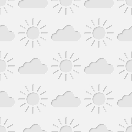 3d seamless pattern with shining sun and clouds. Vector