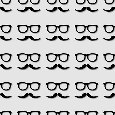 3d seamless pattern with hipster fashion symbols  sunglasses and mustache.  Vector