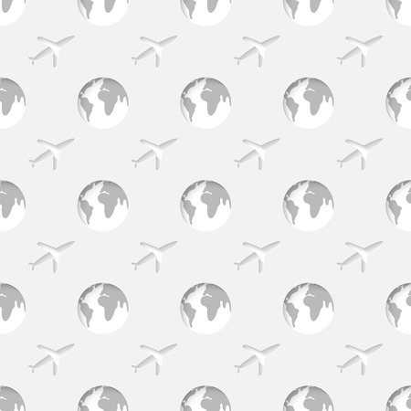 Vector 3d seamless pattern with globe and airplane. Symbols of travel minimalistic monochrome  background for decoration wallpaper and print. Vector
