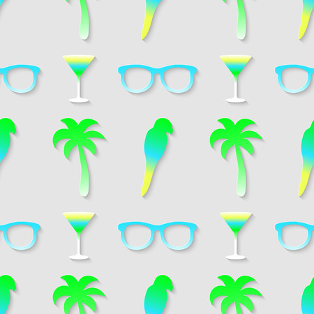 Vector 3d seamless pattern with sunglasses cocktail parrot and palm tree. Symbols of vacation traveling minimalistic colorful background for decoration wallpaper and print.  Vector