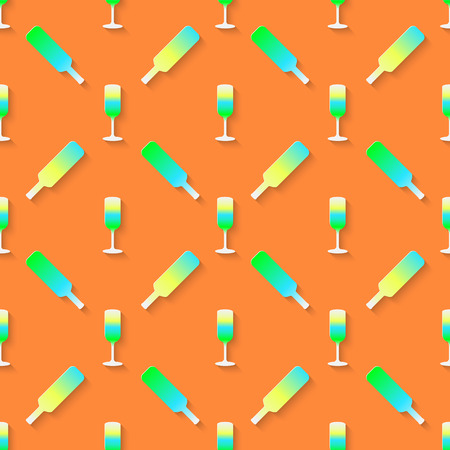stag party: Vector 3d seamless pattern with color alcohol cocktail mix. Minimalistic orange background for decoration wallpaper and print.