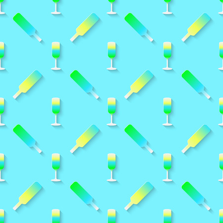 stag party: Vector 3d seamless pattern with color alcohol cocktail mix. Minimalistic blue background for decoration wallpaper and print. Illustration