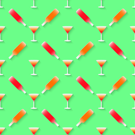 adult birthday party: Vector 3d seamless pattern with color alcohol cocktail mix. Minimalistic green background for decoration wallpaper and print.