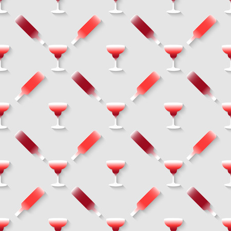 stag party: Vector 3d seamless pattern with color alcohol cocktail mix. Minimalistic gray background for decoration wallpaper and print.