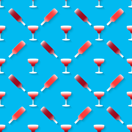 adult birthday party: Vector 3d seamless pattern with color alcohol cocktail mix. Minimalistic blue background for decoration wallpaper and print.  Illustration