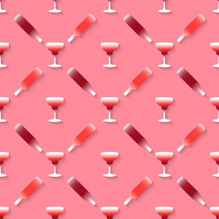 stag party: Vector 3d seamless pattern with color alcohol cocktail mix. Minimalistic pink background for decoration wallpaper and print.