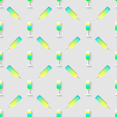 stag party: Vector 3d seamless pattern with color alcohol cocktail mix. Minimalistic gray background for decoration wallpaper and print.  Illustration