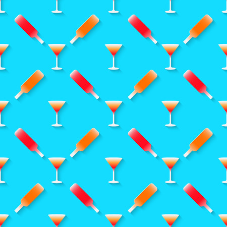 stag party: Vector 3d seamless pattern with color alcohol cocktail mix. Minimalistic blue background for decoration wallpaper and print. Eps10