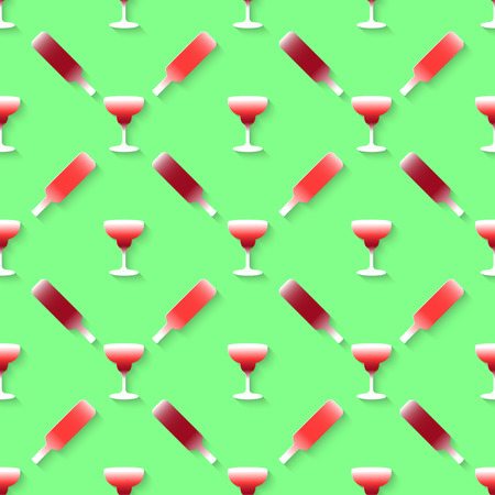 stag party: Vector 3d seamless pattern with color alcohol cocktail mix. Minimalistic green background for decoration wallpaper and print.