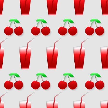 Vector 3d seamless pattern with color cherry juice mix. Minimalistic gray background for decoration wallpaper and print. Eps10 Vector