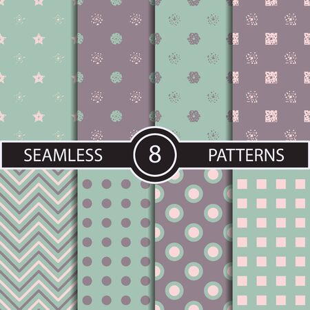 pink brown: Set of vector seamless geometric pattern backgrounds and textures for decoration wallpaper web surface texture and print. Dots circles waves herringbone lines rhombus squares in trendy colors Illustration