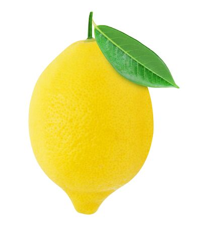 Juicy lemon with green leaf isolated on a white background. Design element for product label.