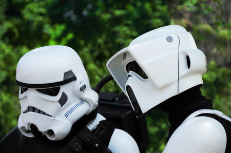stormtrooper: VIENNA, AUSTRIA, June 13, 2015: Star Wars characters,  stormtrooper and scout trooper at the Star Wars Celebration.