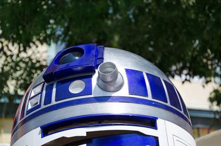 wars: VIENNA, AUSTRIA, June 13, 2015: Star Wars characters, R2D2 at the Star Wars Celebration.
