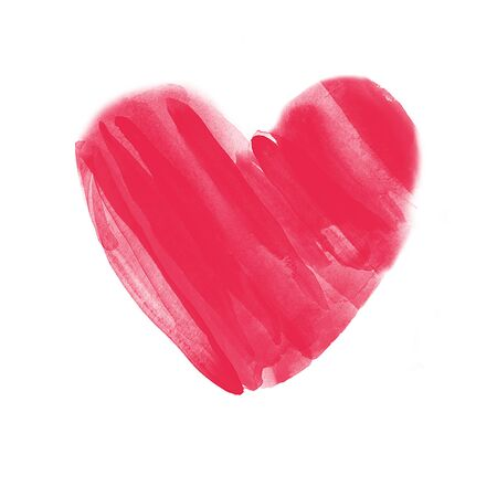 ideally: Hand drawn watercolor red heart on white background for posters, cards, flyers, T-shirt print and web-use. Ideally for Valentines Day design.