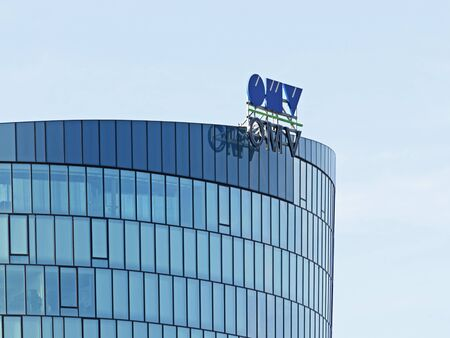 headquarter: VIENNA, AUSTRIA, September 9, 2015: Austrian oil and gas company OMV logotype on headquarter office. Editorial