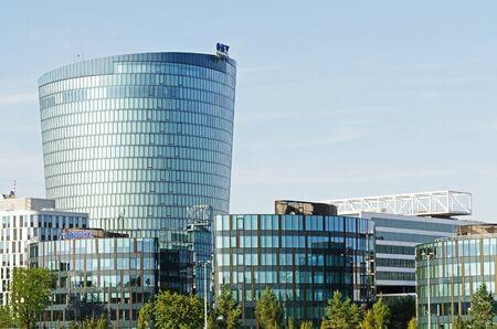 headquarter: VIENNA, AUSTRIA, September 9, 2015: Austrian oil and gas company OMV logotype on headquarter office. Editorial