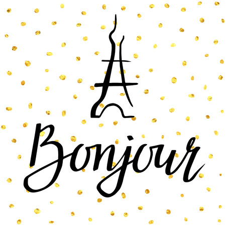 bonjour: Bonjour. illustration with greeting and Eiffel Tower for posters, cards, T-shirt print and web-use. Illustration