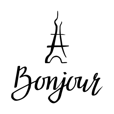 Bonjour. illustration with greeting and Eiffel Tower for posters, cards, T-shirt print and web-use. Illustration
