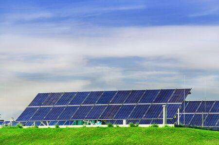 solarpower: Photovoltaic power station, solar park. Group of solar panel. Stock Photo