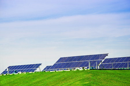 Photovoltaic power station, solar park. Group of solar panel. Stock Photo