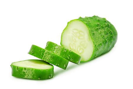 cucumis sativus: Fresh green ripe slices of cucumber isolated on white background. Design element for product label, catalog print, web use.