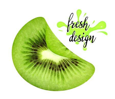 Fresh curved slice of juicy kiwi isolated on white background. Design element for product label, catalog print, web use. Stock Photo