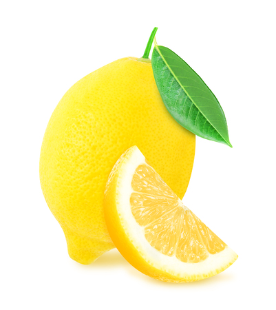Juicy yellow whole lemon with leaf and slice of lemon isolated on a white background. Design element for product label, catalog print, web use.