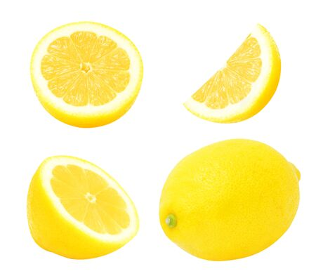 cutted: Set of juicy yellow whole lemon and slices of lemon isolated on a white background. Design element for product label, catalog print, web use.