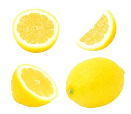 segmento: Set of juicy yellow whole lemon and slices of lemon isolated on a white background. Design element for product label, catalog print, web use.