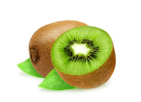 sectioned: Juicy whole kiwi and section with leaves isolated on white background. Design element for product label, catalog print, web use.