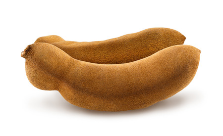cutted: Isolated two fresh whole tamarind on white background. Design element for product label, catalog print, web use.