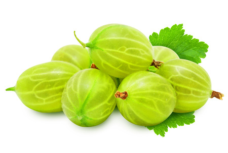 Heap of fresh ripe gooseberry berries with leaves isolated on white background.