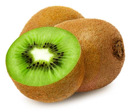Juicy kiwi with section isolated on white background.