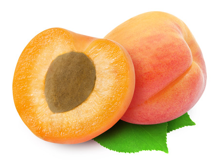 Fresh whole apricot and half with stone and green leaves isolated on white background. Design element for product label, catalog print, web use.