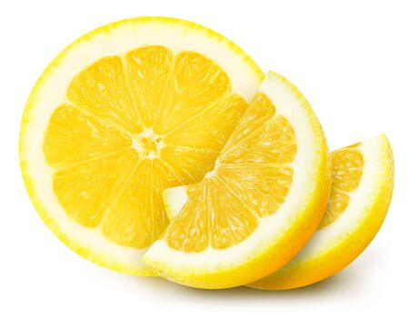 Juicy yellow lemon sections isolated on a white background