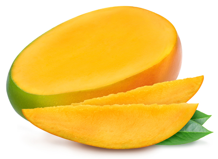 Juicy fresh mango with two slices and leaves isolated on a white background. Ripe tropical fruit with antioxidant effect.