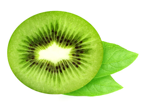 Top view of juicy half of kiwi and leaves isolated on white background. Design element for product label, catalog print, web use.