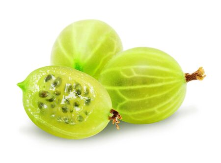 Two and one half fresh ripe green gooseberry berries isolated on white background. Design element for product label, catalog print, web use.