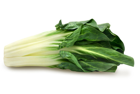 Fresh green chard isolated on a white background. Design element for product label, catalog print, web use. Stock Photo