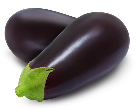 Two fresh eggplants isolated on a white background. Design element for product label, catalog print, web use. Stock Photo