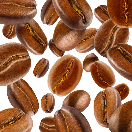 Background of isolated falling shiny fresh roasted coffee beans. Design element for product label, catalog print, web use. Stock Photo