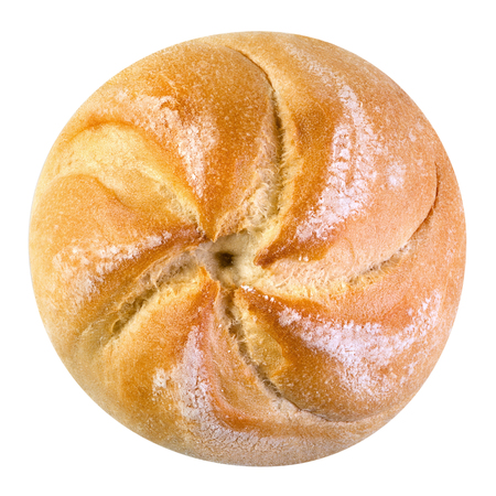 Freshly baked loaf of traditional austrian round bread Kaisersemmel isolated on a white background. Design element for bakery product label, catalog print, web use. Top view. Stock fotó