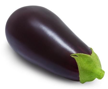 Fresh eggplant isolated on a white background. Design element for product label, catalog print, web use. Stock Photo